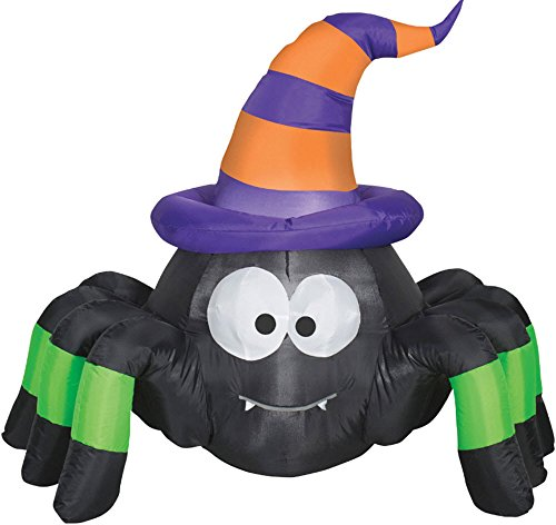HALLOWEEN INFLATABLE 3.5' VAMPIRE SPIDER WITH WITCH HAT INDOOR/OUTDOOR by Gemmy]()