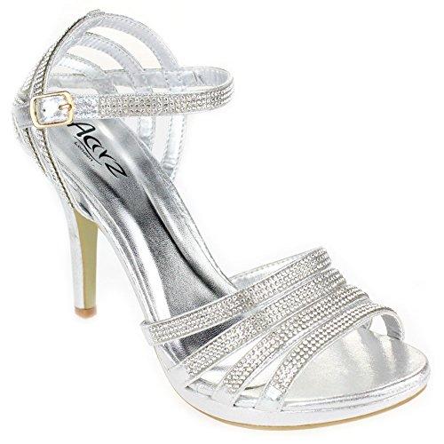 Prom Champagne High soirée Or Femmes Taille Mariage de Rouge Heel Sandal Mesdames Noir Bridal Argent de Chaussures Soirée Argent Diamante Aarz U0xCfqx