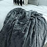 GRACED SOFT LUXURIES Softest Warm Elegant Cozy Faux Fur Home Throw Blanket (Solid Gray, Extra Large 60' x 80')