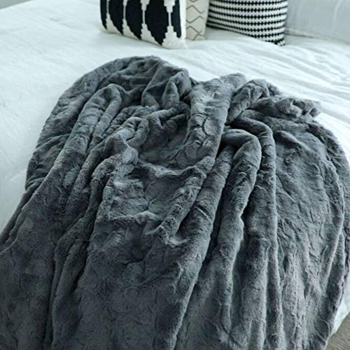 (GRACED SOFT LUXURIES Softest Warm Elegant Cozy Faux Fur Home Throw Blanket (Solid Gray, Extra Large 60