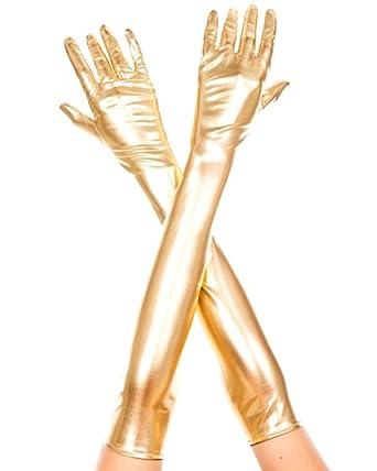 ce05039cad194a Queenshiny® Lange Leder-Optik Handschuhe in Schwarz wet look (Gold ...