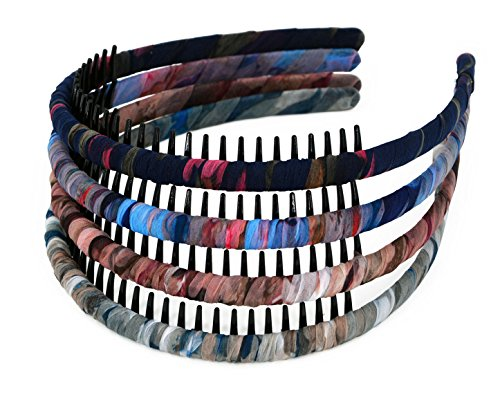 STHUAHE 4Pieces Woman/Girls Bohemia Style Series Silk and Protection Resin Teeth Comb Hair Hoop Hairband Headband Hair Accessories by Beauty Hair (4 Color) (Scunci Headbands Effortless)