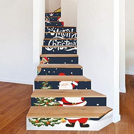 Stickers Escalier Décoration De Noël Escaliers Père Noël ...