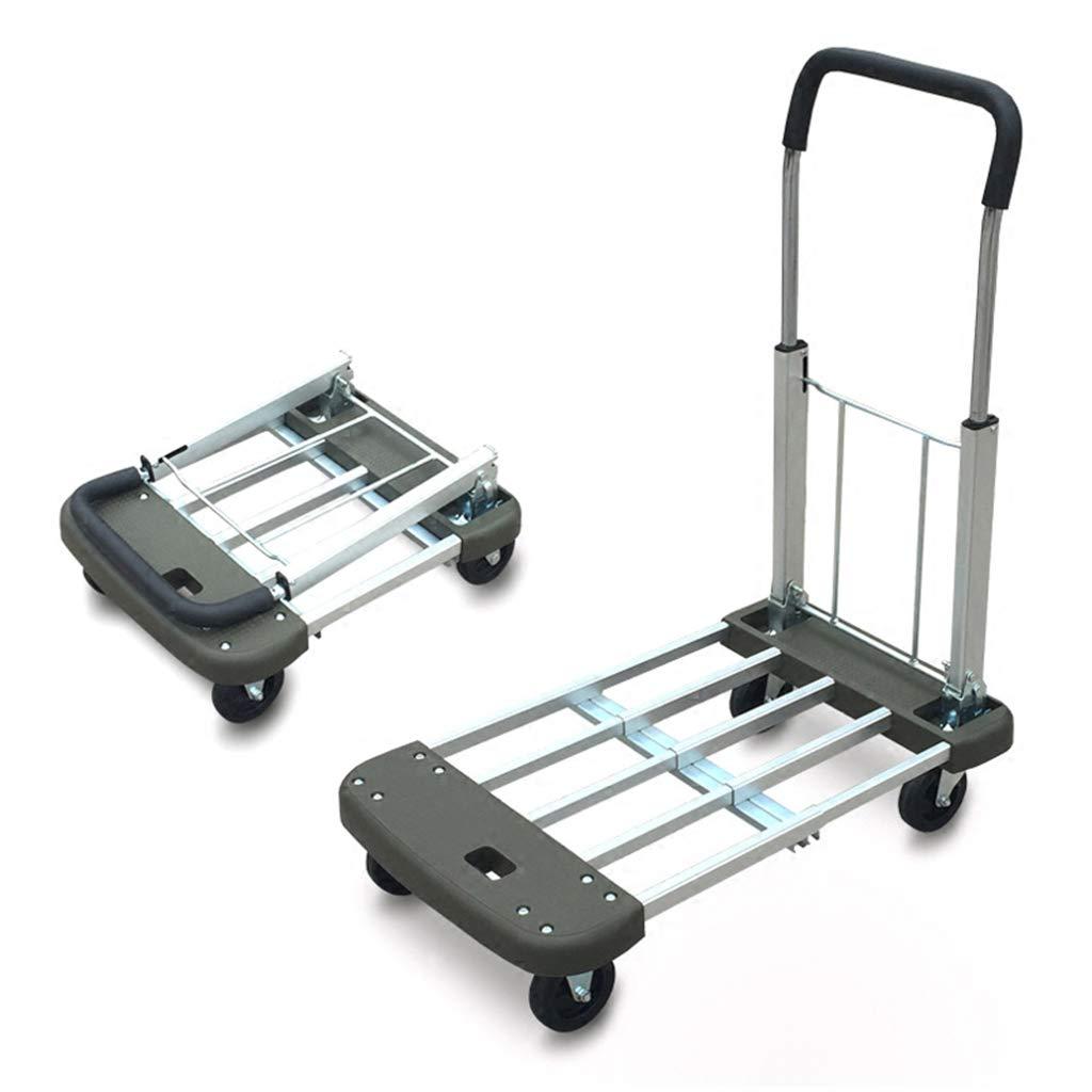 ショッピングキャリー プラットフォームトラック 家庭用トロリー 折りたたみ式荷物カート 引っ張りトラック 移動式トロリー 150kgに耐えることができます (Color : Gray, Size : 40*75*87cm) B07PY1KX5R Gray 40*75*87cm