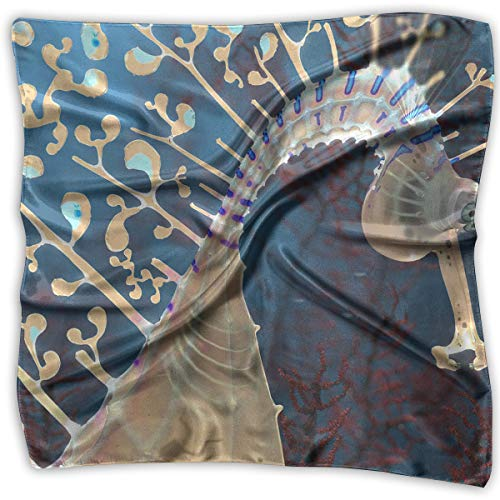 Polyester Lady's Handkerchief Scarf Women¡¯s Sea Horse With Diver Square Satin Headscarf S