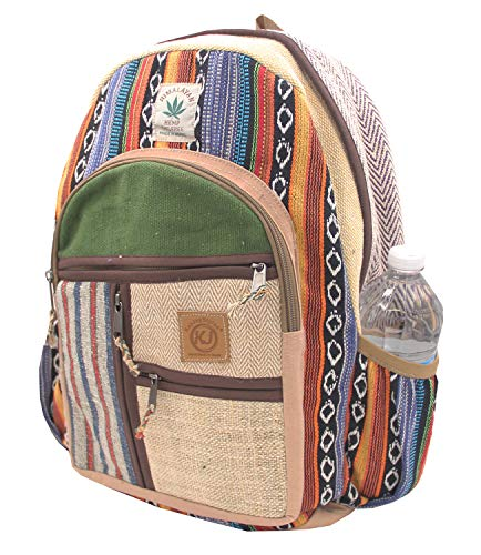 (KayJayStyles Natural Handmade Large Multi Pocket Hemp Nepal Backpack (BKPK-6) )