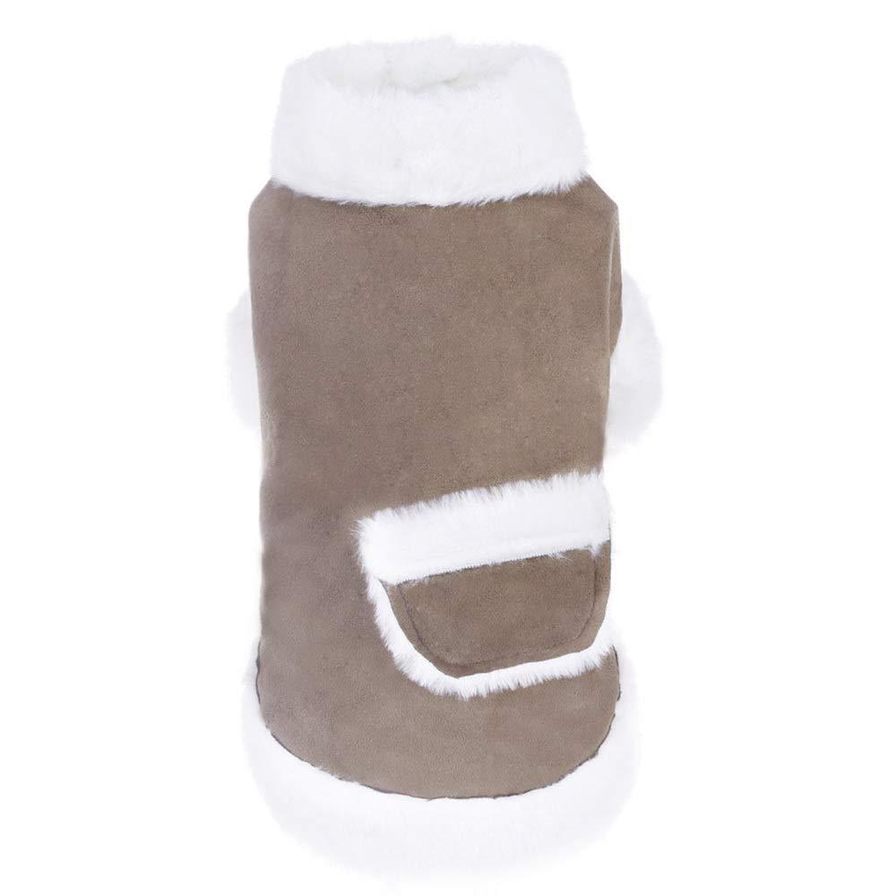 Onecolor L(Bust 15.7 Onecolor L(Bust 15.7 Puppy Dog Pet Plus Velvet Warm Vest Pocket Decoration Comfortable Two-Legged Outdoor Cold Coat,4 Sizes,Onecolor-L(Bust 15.7-17.7in)