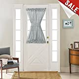 french front doors - French Door Panel Curtains Linen Textured Sheer French Door Panels with a Bonus Tieback, 52 Width x 40 Length, Grey