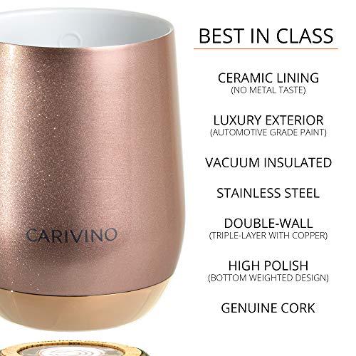 CARIVINO: Luxury Wine Tumbler with Genuine Cork Base and Ceramic Interior (No Metal Taste) – Premium Box 12oz Vacuum…