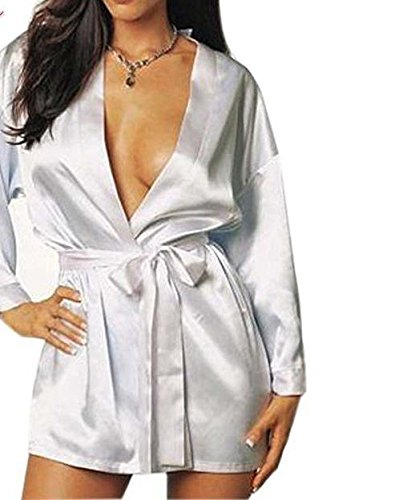 HITSAN plus size lingerie satin lace intimate sleepwear bathrobes erotic nightie dress costume chemise negligee White One - Negligee Nightie