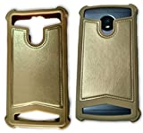 BKDT Marketing Rubber and Leather Soft Back Cover for MICROMAX Bolt A82- Gold