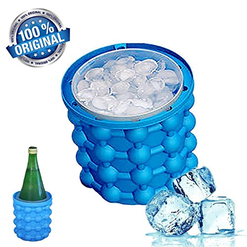 Price comparison product image 2018 New Ice Cube Maker Genie silicone, Ice Bucket with Lid, The Revolutionary Space Saving Ice Cube Maker