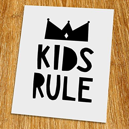 Kids rule Print (Unframed), Nursery Wall Art, Scandinavian, Modern, Playroom Decor, Black and White, 8x10