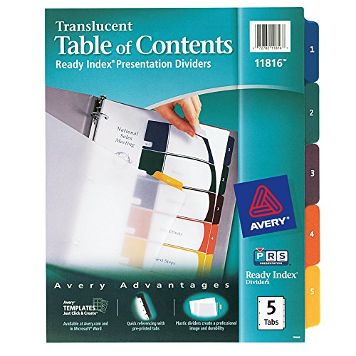 Avery(R) Ready Index(R) Translucent Table Of Contents Dividers, 5-Tab, Multicolor