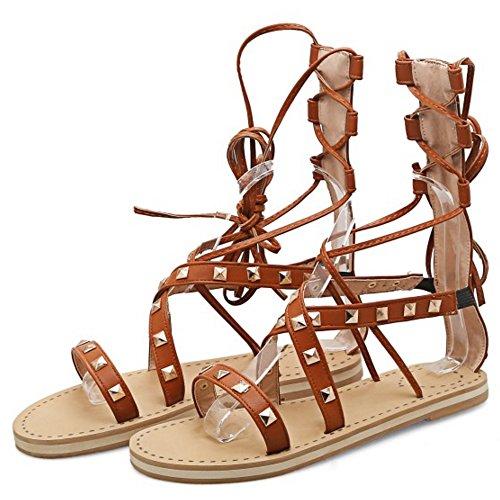 COOLCEPT Mujer Moda Cordones Sandalias Punta Abierta Hueco Planos Zapatos Marron