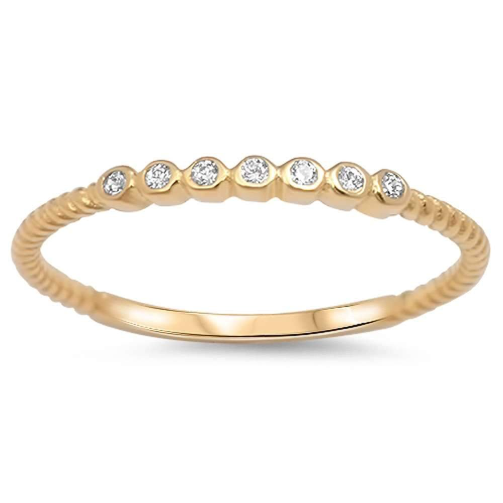 Brightt Yellow Gold Plated Rope Design with Bezel Cubic Zirconia .925 Sterling Silver Ring Sizes 4-10