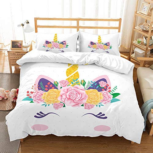 (APJJQ Unicorn Duvet Cover Set Full/Queen,Red Floral Feather Eyelashes Unicorn Head with Gold Horn Pink Dots White 3 Piece with 2 Pillow Sham Kids Bedding Set for Boys,Girls and Teens)