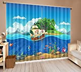 Cartoon Pirate Ship on Sea House Decor Window Curtain by LB, Nautical Underwater World Curtain for Kids Nursery Room, Machine Washable Window Treatment, 80x84 Inches (2 Panels Size)