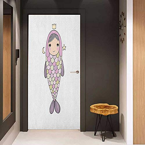 Onefzc Photo Wall Decal Mermaid Fantasy Sea Life Mythological Character Girl in Fish Costume with Crown Moon Stars for Home Decor W23 x H70 Multicolor]()