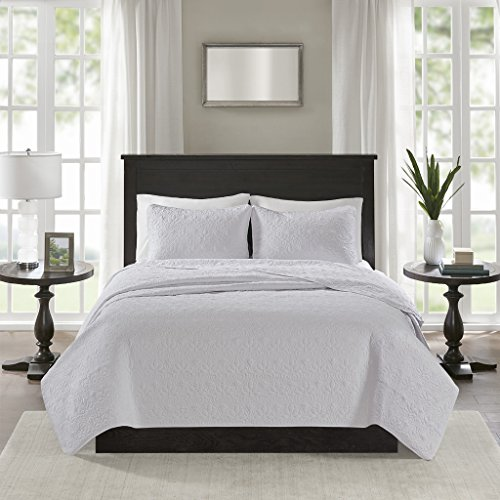 Madison Park Quebec Full/Queen Size Quilt Bedding Set - White, Damask – 3 Piece Bedding Quilt Coverlets – Ultra Soft Microfiber Bed Quilts Quilted Coverlet by Madison Park