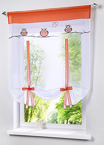 Uphome 1pc Cute Embroidered Animal Owls Tie-Up Roman Curtain – Tab Top Sheer Kitchen Balloon Window Curtain (39″W x 55″H, Orange)