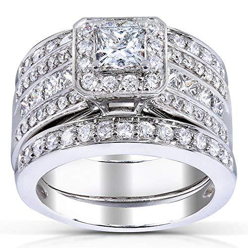 Kobelli Princess-cut Diamond 3-Piece Bridal Ring Set 1 4/5 Carat (ctw) in 14k White Gold, Size 8.5