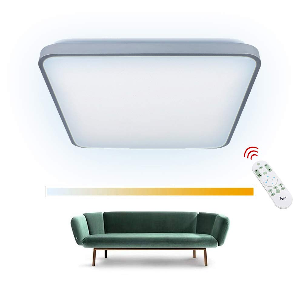 50W LED Deckenleuchte Dimmbar Fernbedienung WarmWeiß, NaturalWeiß, KaltWeiß, 2700K-6500K, LED Deckenlampe 435  435  100mm Moderne Deckenbeleuchtung