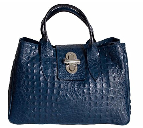 SUPERFLYBAGS Borsa Bauletto Donna in Vera Pelle stampa Coccodrillo modello Milena Large Made in Italy Blu scuro