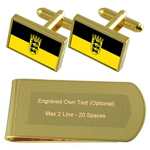 Clip Baden Set Engraved Flag State Gift Cufflinks tone Gold Money Württemberg 0F0wrqP