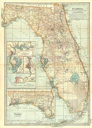 Florida Karte Drucken.Florida Rundum Jacksonville Key West Tampa St Augustine 1903