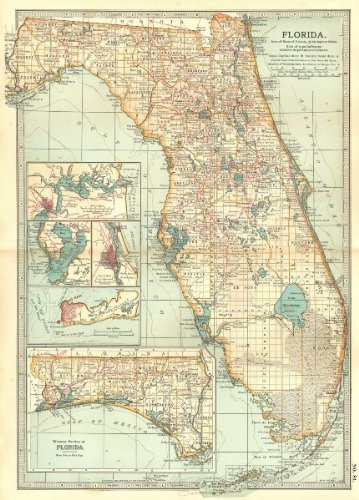 Antique Map Of Florida.Amazon Com Florida Inset Jacksonville Key West Tampa St