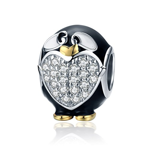 (Everbling South Pole Penguin Arctic Polar Bear Nautical Animal Bead 925 Sterling Silver Bead Fits European Charm Bracelet (Black Enamel Clear CZ Penguin))