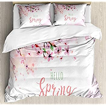 Image of Alandar Home Bedding Sets Duvet Cover 3 Pieces, Floral Ultra Soft Bed Quilt Set with 2 Pillowcases for Kids/Teens/Women/Men Bedroom Japanese Cherry Blossom Flowers Watercolor Illustration