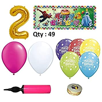 EASY PARTY STORE Girls 2nd Birthday Decoration Combo Of 49 Items
