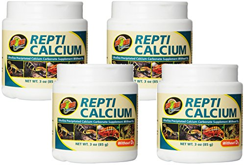 Zoo Med Calcium Without Vitamin D3 Reptile Food, 3-Ounce (4 Pack)