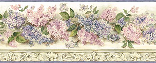 (Chesapeake BBC20043B Ethel Heirloom Lilacs Trail Wallpaper Border, Pink)