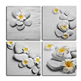 GOUPSKY Canvas Wall Art Plumeria Yellow and White Flower Painting with Zen Stones Texture Wood Framed Artwork Blossom Still Life Picture Frames by