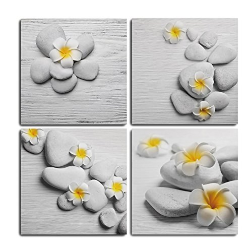 GOUPSKY Canvas Wall Art Plumeria Yellow and White Flower Painting with Zen Stones Texture Wood Framed Artwork Blossom Still Life Picture Frames by by GOUPSKY