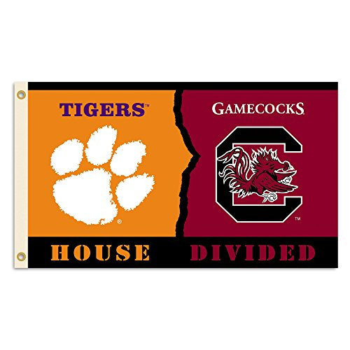 (BSI NCAA Clemson Tigers Flag with Grommets (Rivalry House Divided), 3' x 5', Orange & Cardinal )