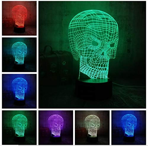 BMY New Coo3D Skull Head Illusion USB Led Night Light Remote Desk Lamp Lighting for Halloween Bar Decorations Gift for Kids
