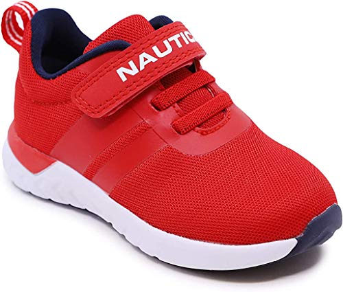 Nautica Kids Boys Fashion Sneaker Athletic Running Shoe with Stap for Toddler and Little Kids-Towhee Saga-Navy Mesh Red…