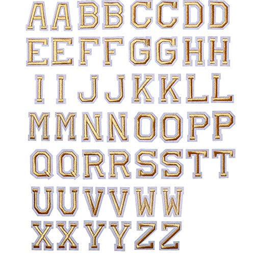 J.CARP 52Pcs Gold Alphabet A to Z Patches, Iron on Sew on Letters for Clothing, Hats, Shoes, Backpacks, Handbags, Jeans, Jackets etc.