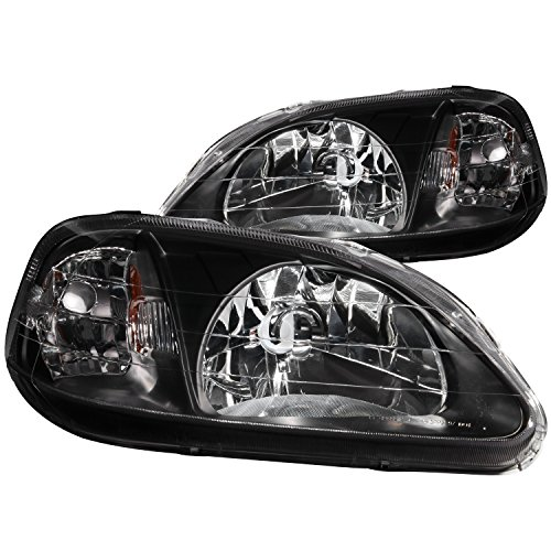 a Civic Crystal Black Headlight Assembly - (Sold in Pairs) (Anzo Usa Headlight Crystal)