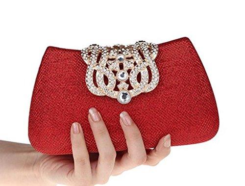 Cinéma Rouge Clutch Ergeob® Pour Diamant Femmes Cristal Krone De Mariage Argent Party Sac Théâtre Pochette Event Soirée xa6wqS