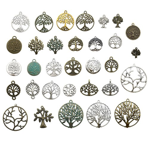 Tree Charm - 100g Craft Supplies Mixed Tree Of Life Pendants Beads Charms Pendants for Crafting, Jewelry Findings Making Accessory For DIY Necklace Bracelet (tree of life charms)