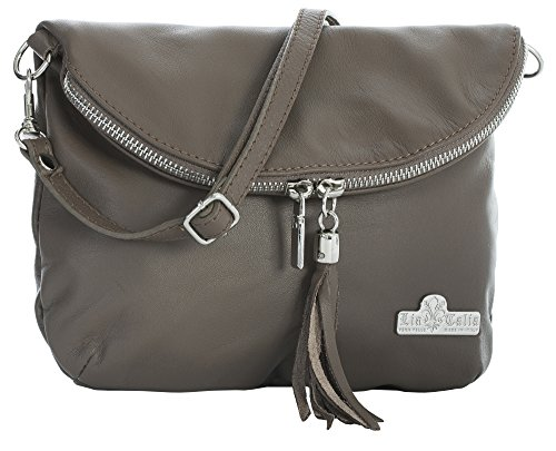 Leather Small Bag Body LIATALIA Size Real Deep Mini Messenger Italian Shoulder Soft AMY Taupe Cross AAqxvtw