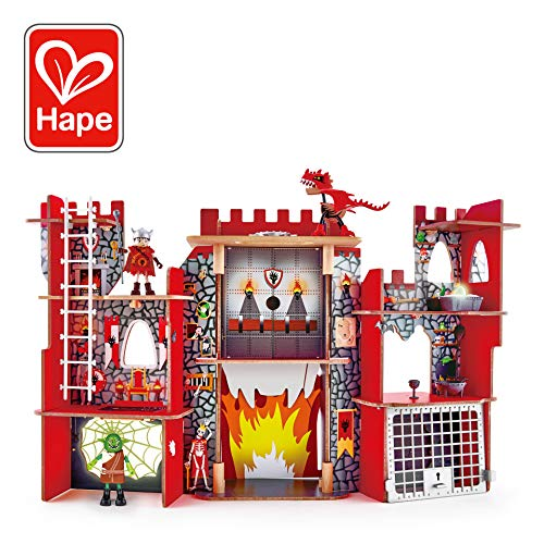 Hape Vikings Castle Dollhouse Play Set| Wooden Folding Dragon Castle Dollhouse with Magic Accessories, Glow in The Dark Spider Web, Dragon Egg and Action - Castle Set Wooden Figure