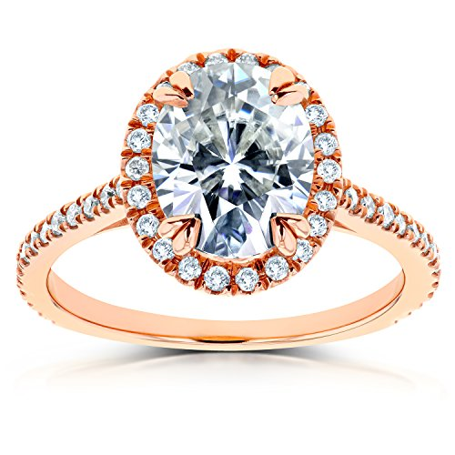 Oval Moissanite and Diamond Halo Engagement Ring 2 1/3 CTW in 14k Rose...