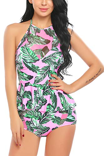 - Avidlove Women High Waisted Swimsuit 2 Pcs Ruffle Tankini Retro Halter Peplum Bikini Set X-Large Pink