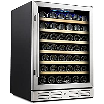 Kalamera 24'' Wine Cooler 54 Bottle Single Zone Touch Control Built-in or Freestanding with Stainless Steel & Triple-Layer Tempered Glass Door and Temperature Memory Function